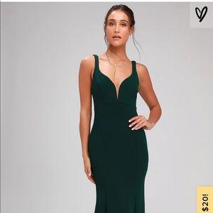 Lulu's Dresses - Aperitif Emerald Green Maxi Dress